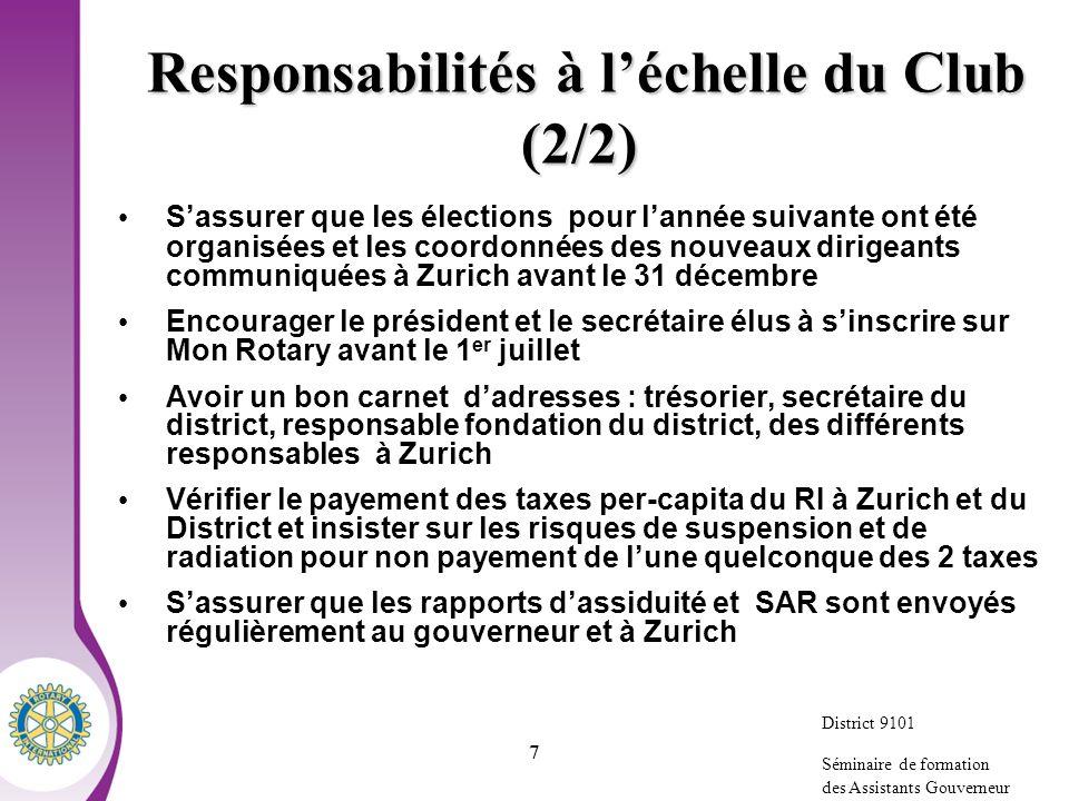 Responsabilités à l'échelle du Club (2/2)