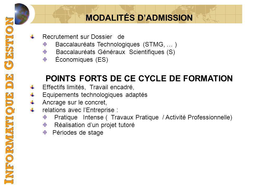 MODALITÉS D'ADMISSION POINTS FORTS DE CE CYCLE DE FORMATION