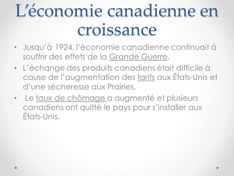 L'économie canadienne en croissance
