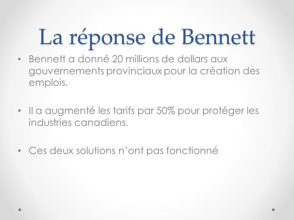 La réponse de Bennett Bennett a donné 20 millions de dollars aux gouvernements provinciaux pour la création des emplois.