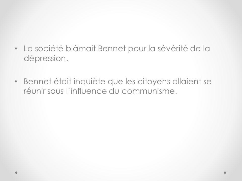 La société blâmait Bennet pour la sévérité de la dépression.