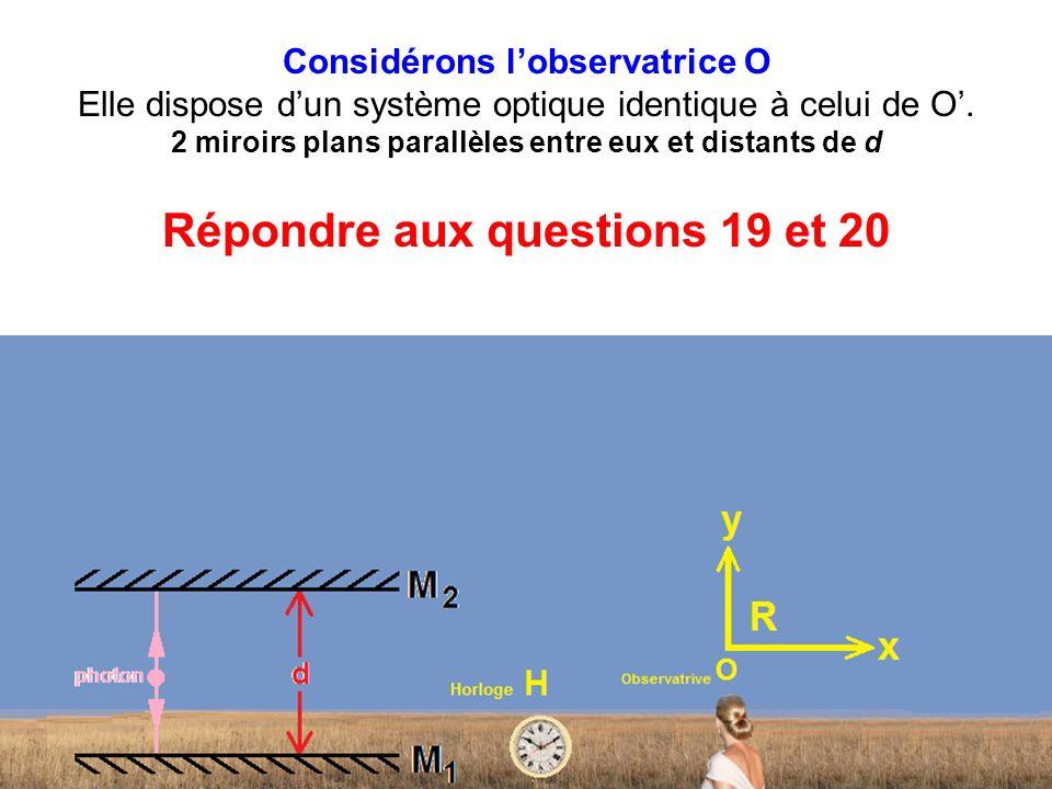 Considérons l'observatrice O Elle dispose d'un système optique identique à celui de O'.