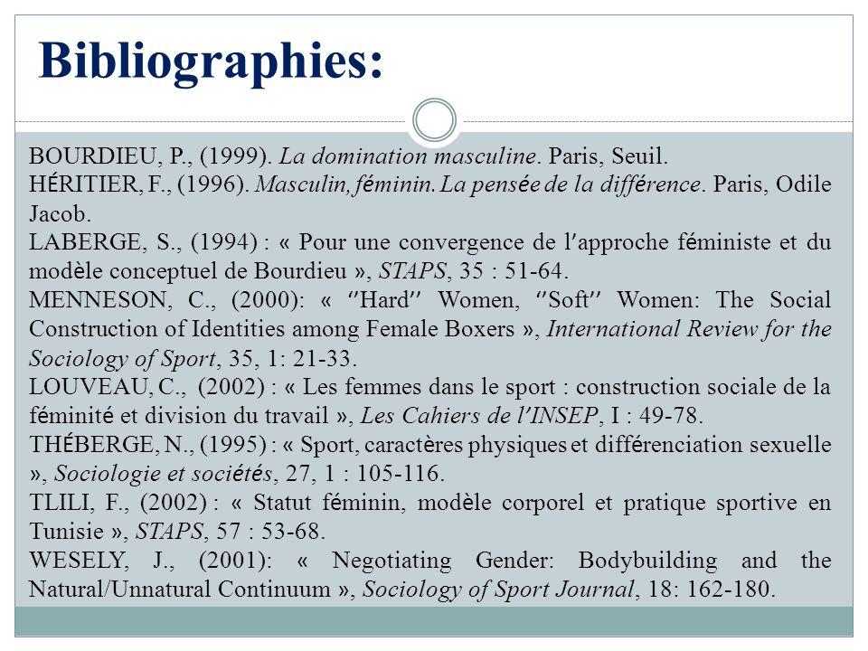Bibliographies: BOURDIEU, P., (1999). La domination masculine. Paris, Seuil.