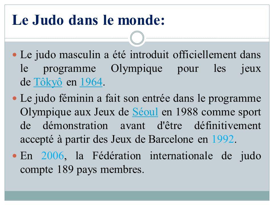 Le Judo dans le monde: Le judo masculin a été introduit officiellement dans le programme Olympique pour les jeux de Tôkyô en 1964.