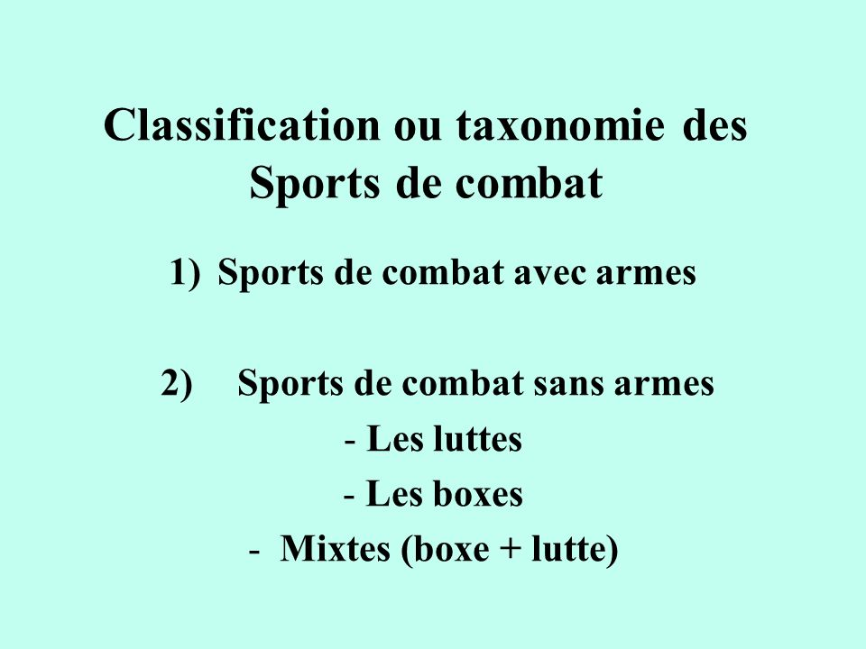 Classification ou taxonomie des Sports de combat