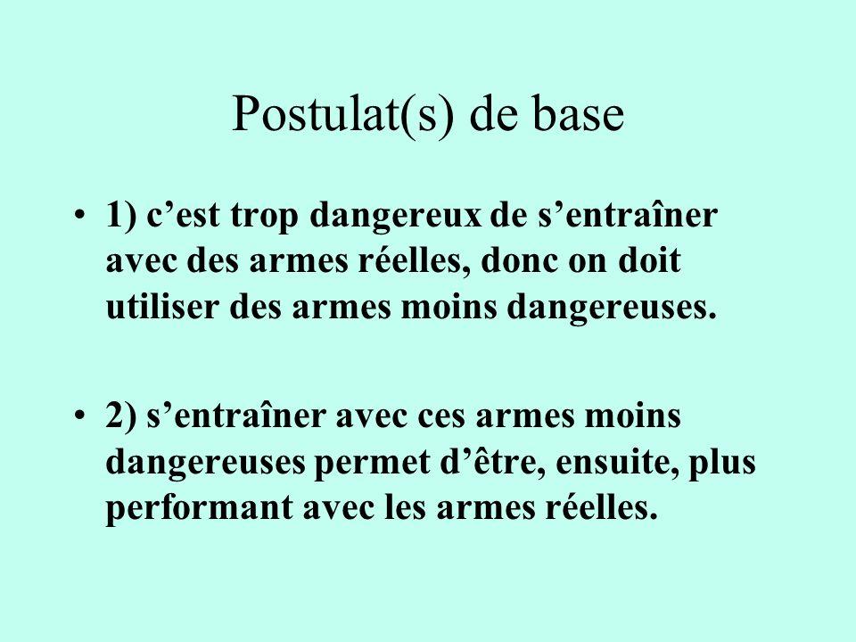 Postulat(s) de base 1) c'est trop dangereux de s'entraîner avec des armes réelles, donc on doit utiliser des armes moins dangereuses.