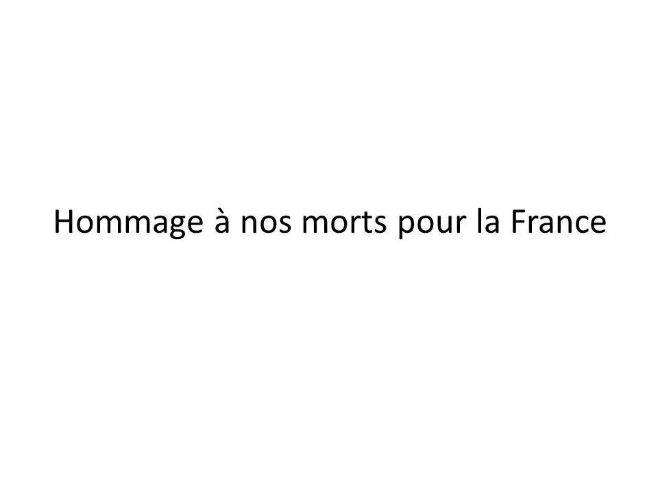 Hommage à nos morts pour la France
