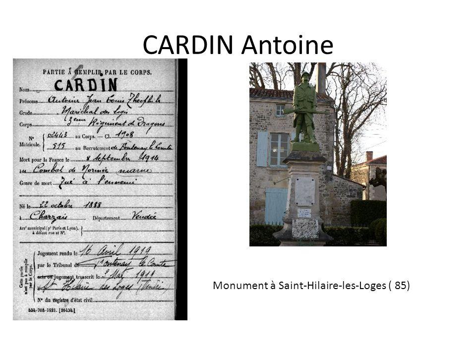 CARDIN Antoine Monument à Saint-Hilaire-les-Loges ( 85)