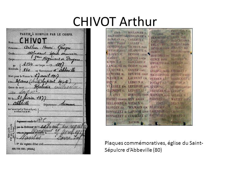 CHIVOT Arthur Plaques commémoratives, église du Saint-Sépulcre d'Abbeville (80)