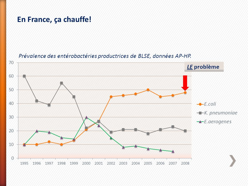 En France, ça chauffe. Prévalence des entérobactéries productrices de BLSE, données AP-HP.