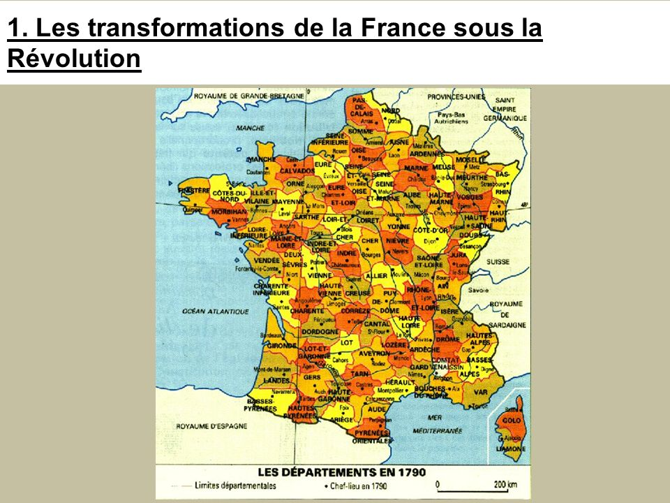 1. Les transformations de la France sous la Révolution
