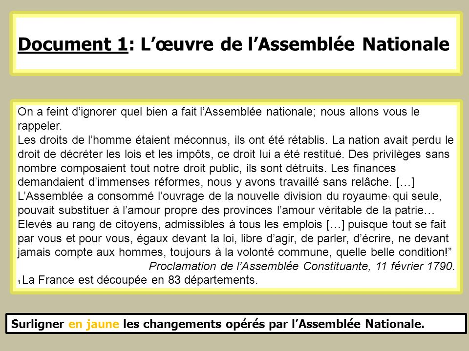Document 1: L'œuvre de l'Assemblée Nationale