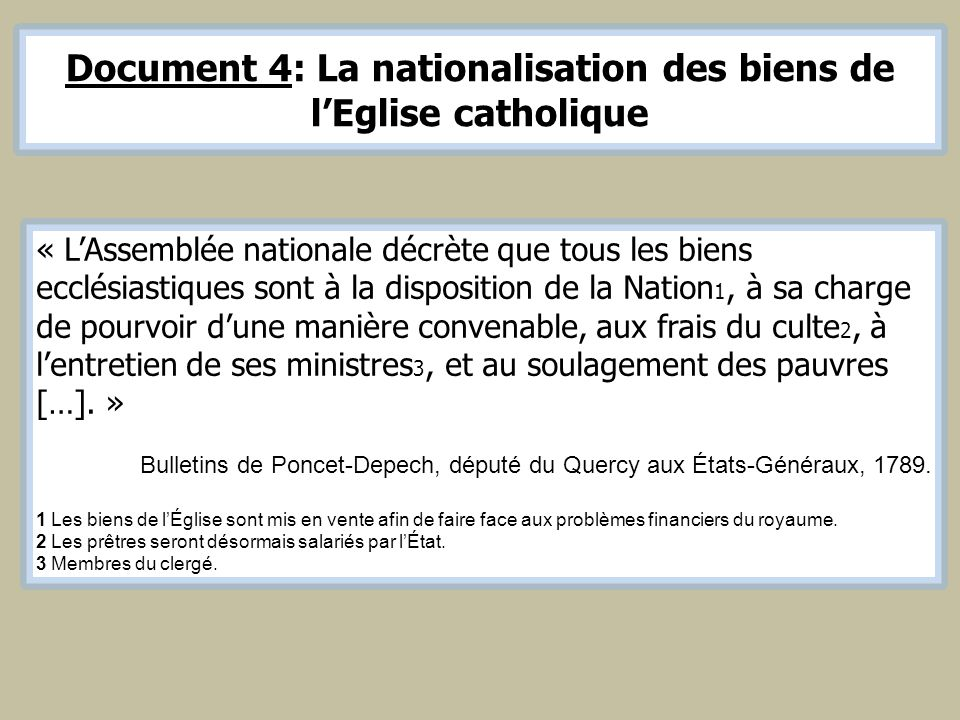 Document 4: La nationalisation des biens de l'Eglise catholique