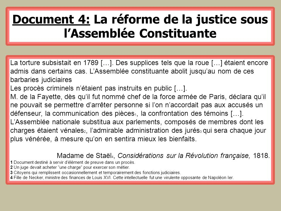 Document 4: La réforme de la justice sous l'Assemblée Constituante