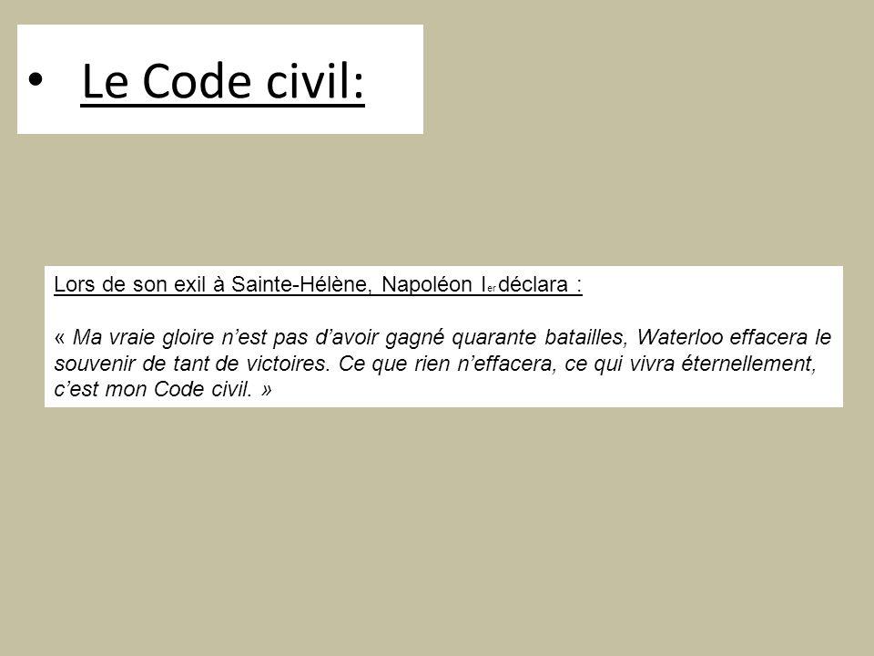 Le Code civil: Lors de son exil à Sainte-Hélène, Napoléon Ier déclara :