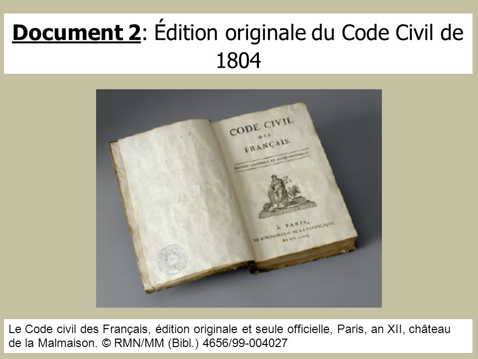 Document 2: Édition originale du Code Civil de 1804