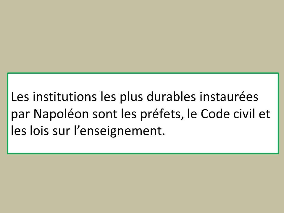 Les institutions les plus durables instaurées par Napoléon sont les préfets, le Code civil et les lois sur l'enseignement.
