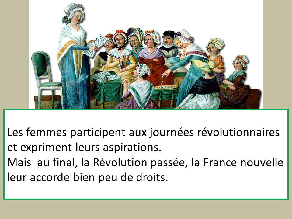 Les femmes participent aux journées révolutionnaires et expriment leurs aspirations.