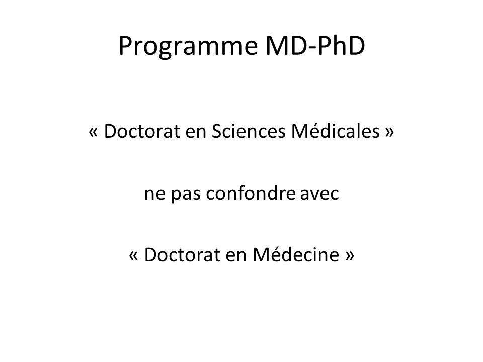 Programme MD-PhD « Doctorat en Sciences Médicales » ne pas confondre avec « Doctorat en Médecine »
