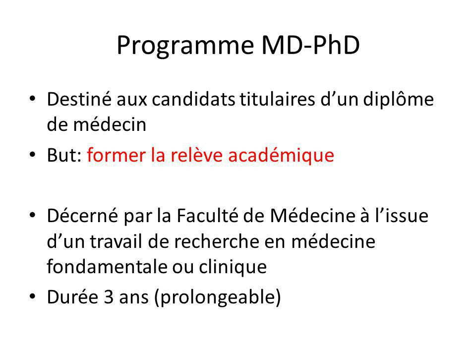 Programme MD-PhD Destiné aux candidats titulaires d'un diplôme de médecin. But: former la relève académique.