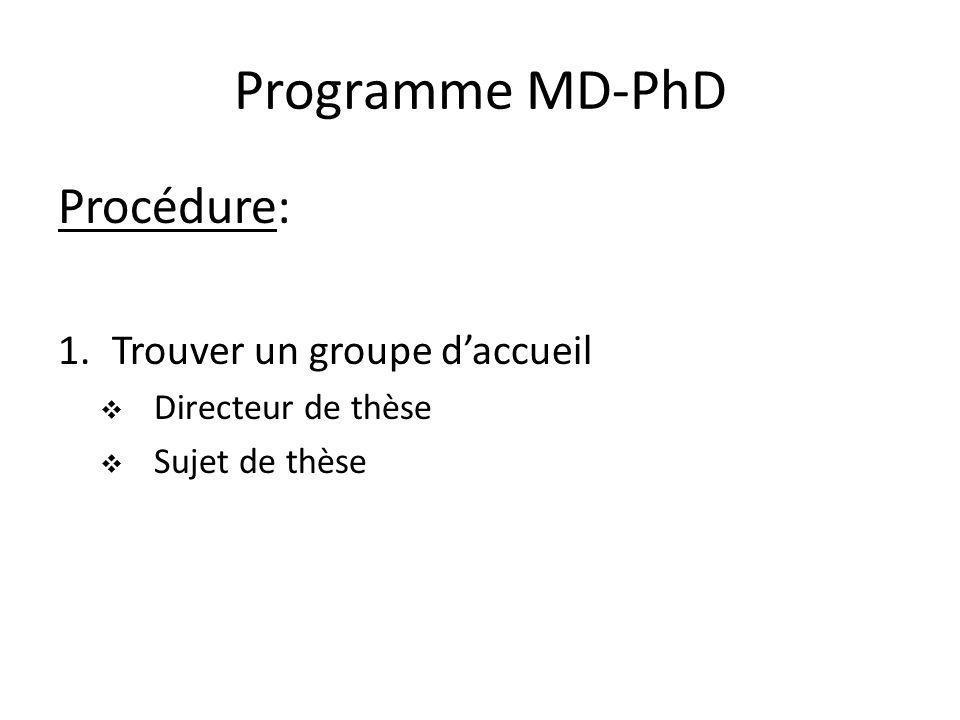 Programme MD-PhD Procédure: Trouver un groupe d'accueil