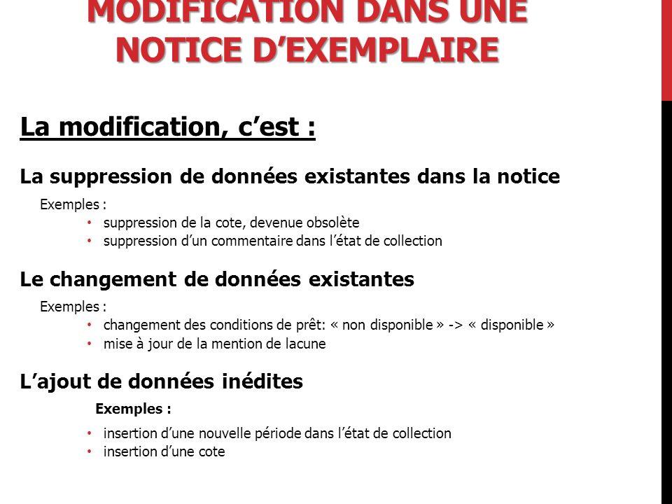 Modification dans une notice d'exemplaire
