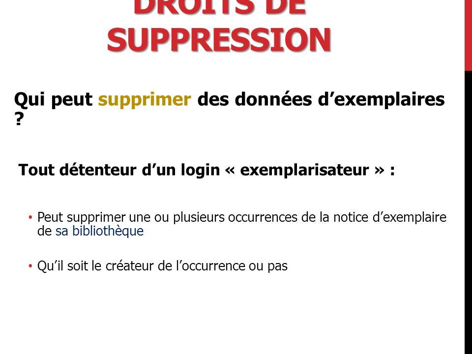 Droits de suppression Qui peut supprimer des données d'exemplaires