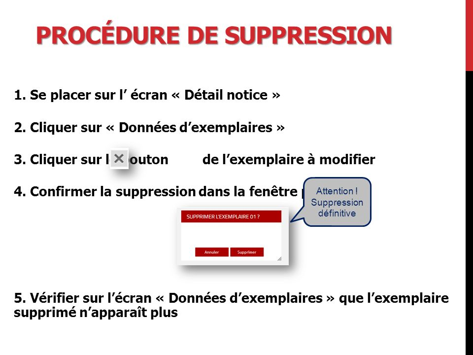 Procédure de suppression