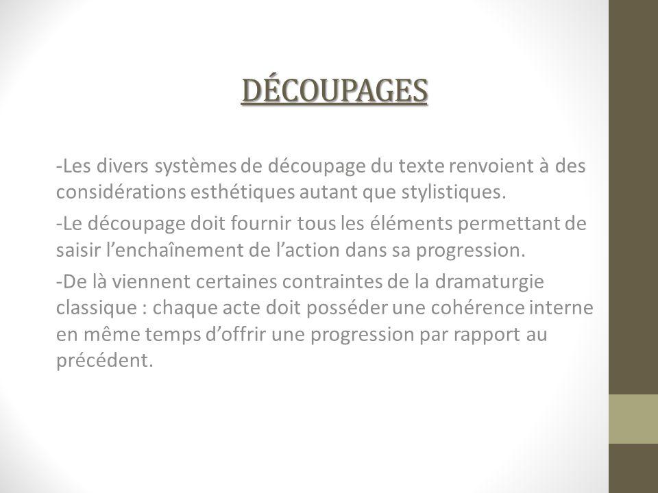 découpages -Les divers systèmes de découpage du texte renvoient à des considérations esthétiques autant que stylistiques.