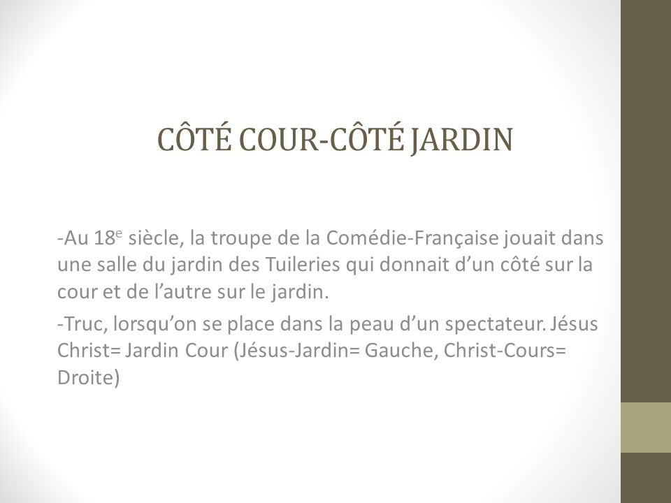 CÔTÉ COUR-CÔTÉ JARDIN