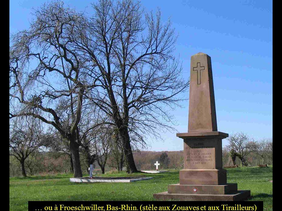 … ou à Froeschwiller, Bas-Rhin. (stèle aux Zouaves et aux Tirailleurs)