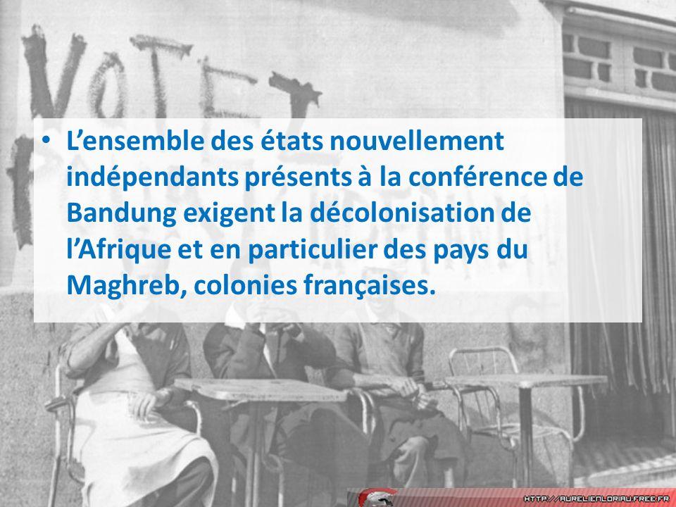 L'ensemble des états nouvellement indépendants présents à la conférence de Bandung exigent la décolonisation de l'Afrique et en particulier des pays du Maghreb, colonies françaises.