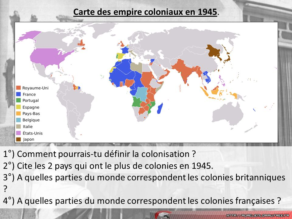 Carte des empire coloniaux en 1945.
