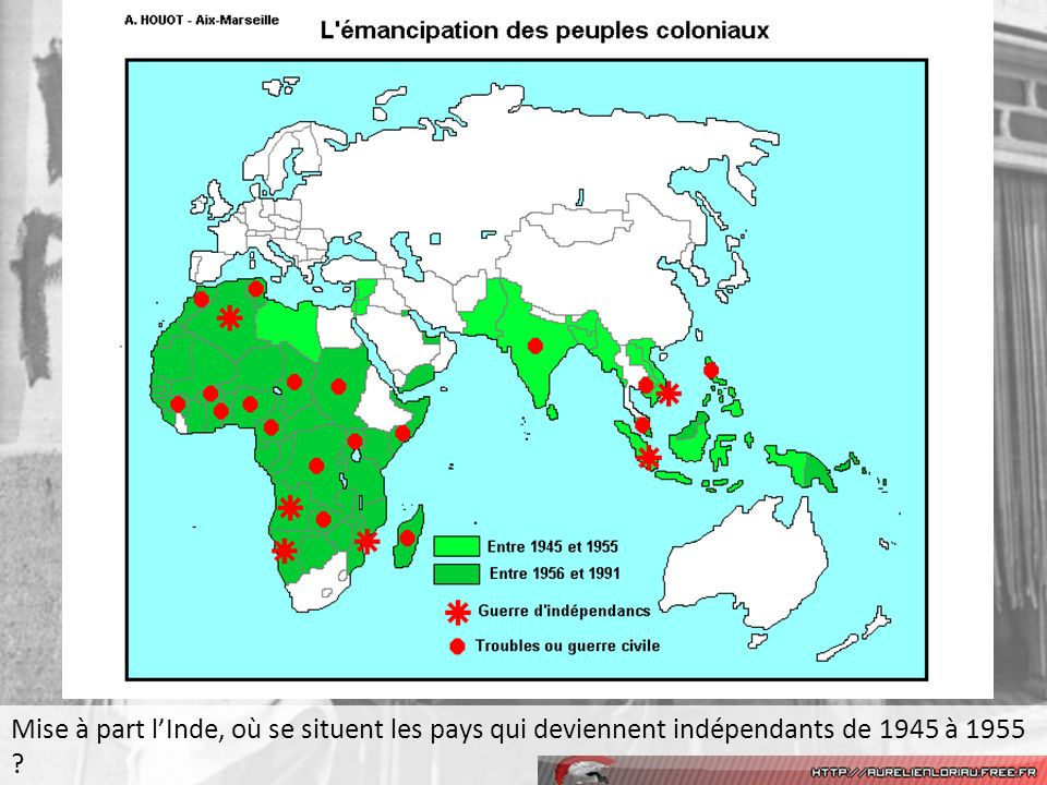 Mise à part l'Inde, où se situent les pays qui deviennent indépendants de 1945 à 1955