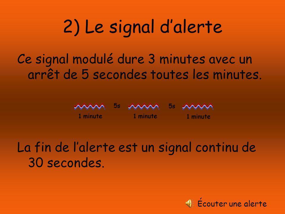2) Le signal d'alerte Ce signal modulé dure 3 minutes avec un arrêt de 5 secondes toutes les minutes.