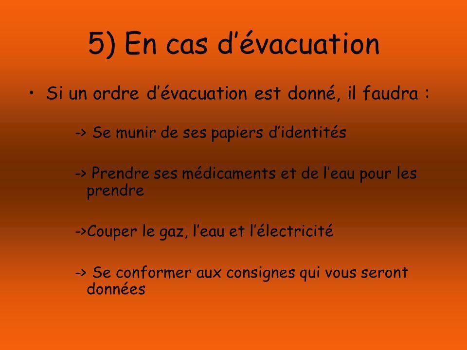 5) En cas d'évacuation Si un ordre d'évacuation est donné, il faudra :