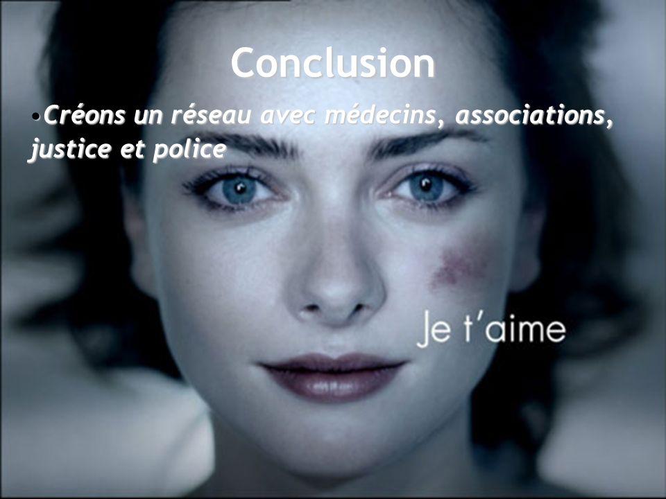 Conclusion Créons un réseau avec médecins, associations, justice et police