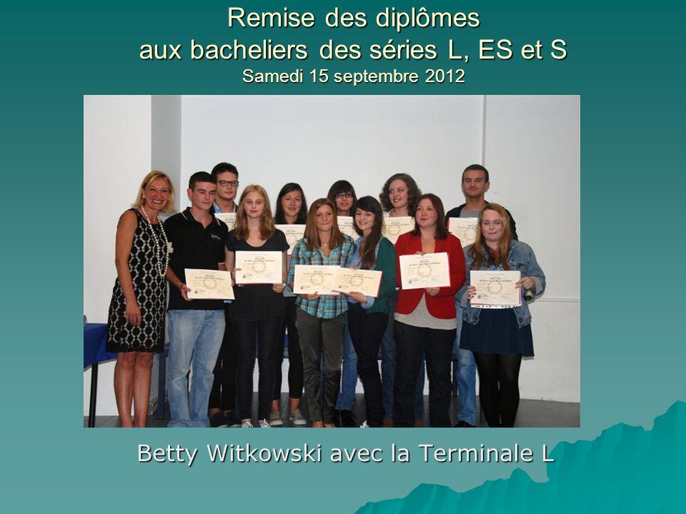 Betty Witkowski avec la Terminale L