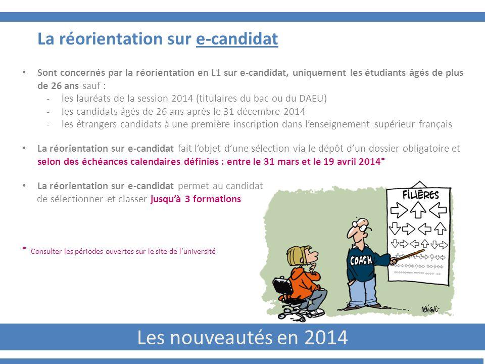 Les nouveautés en 2014 La réorientation sur e-candidat