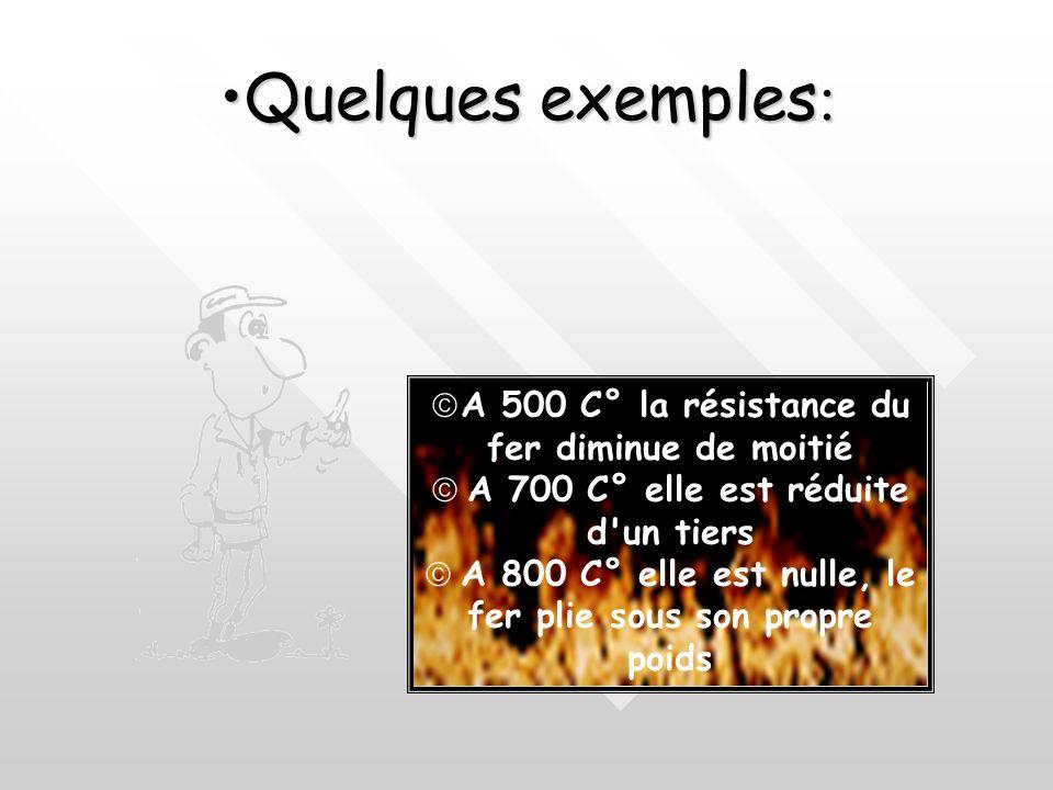 Quelques exemples: A 500 C° la résistance du fer diminue de moitié