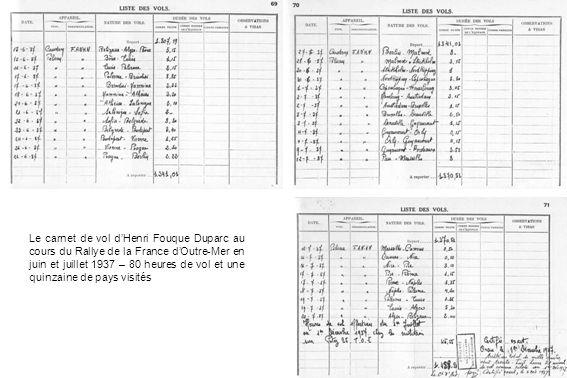 Le carnet de vol d'Henri Fouque Duparc au cours du Rallye de la France d'Outre-Mer en juin et juillet 1937 – 80 heures de vol et une quinzaine de pays visités