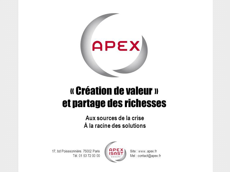 « Création de valeur » et partage des richesses