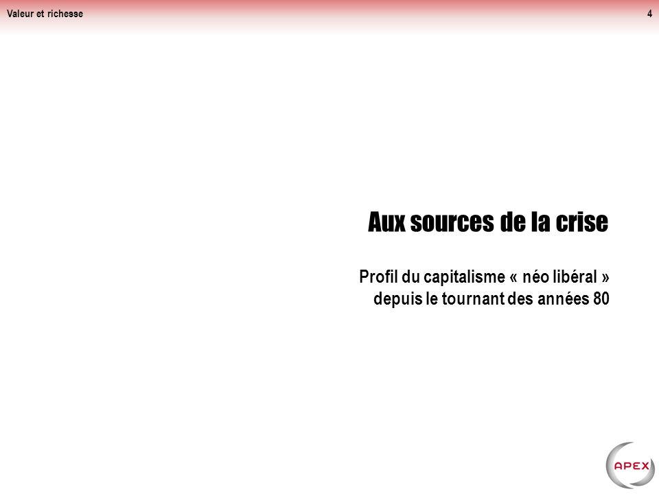 Valeur et richesse Aux sources de la crise.