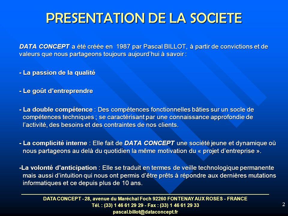 PRESENTATION DE LA SOCIETE