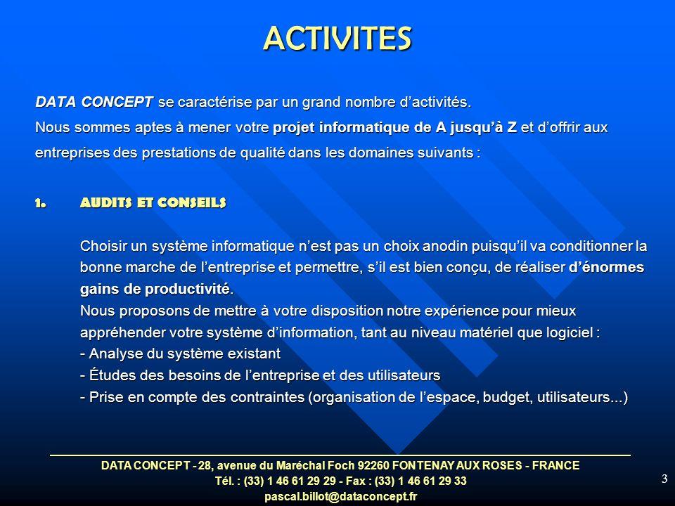ACTIVITES DATA CONCEPT se caractérise par un grand nombre d'activités.