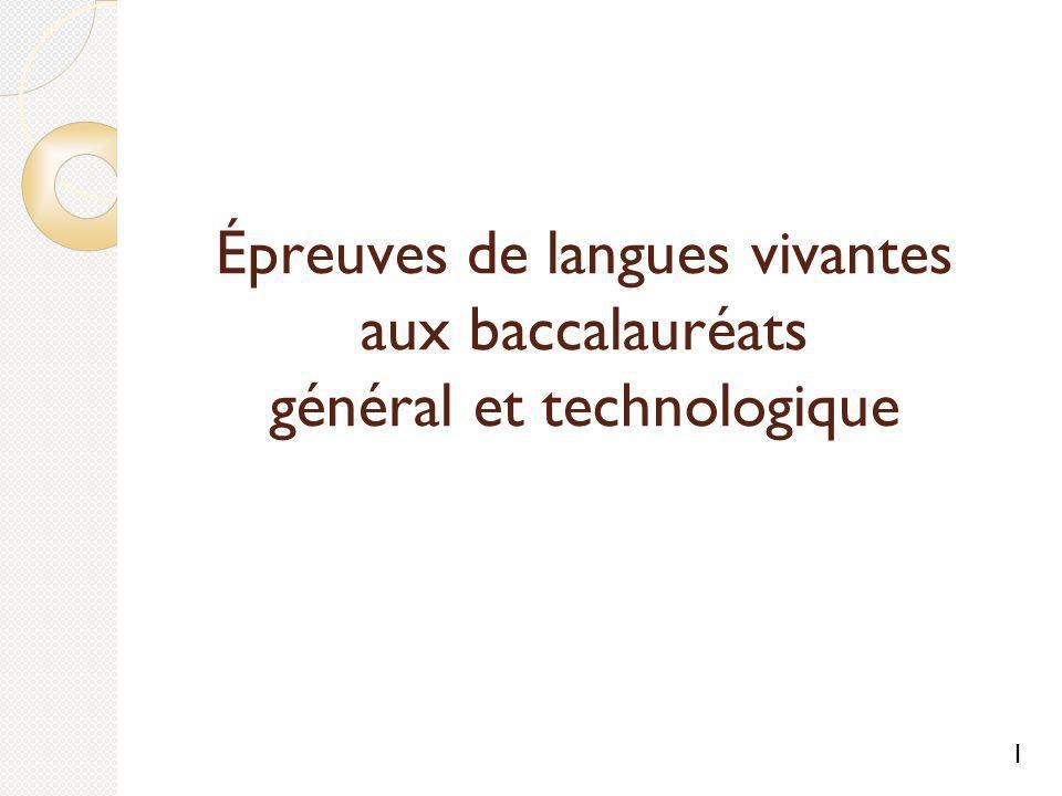 Épreuves de langues vivantes aux baccalauréats général et technologique