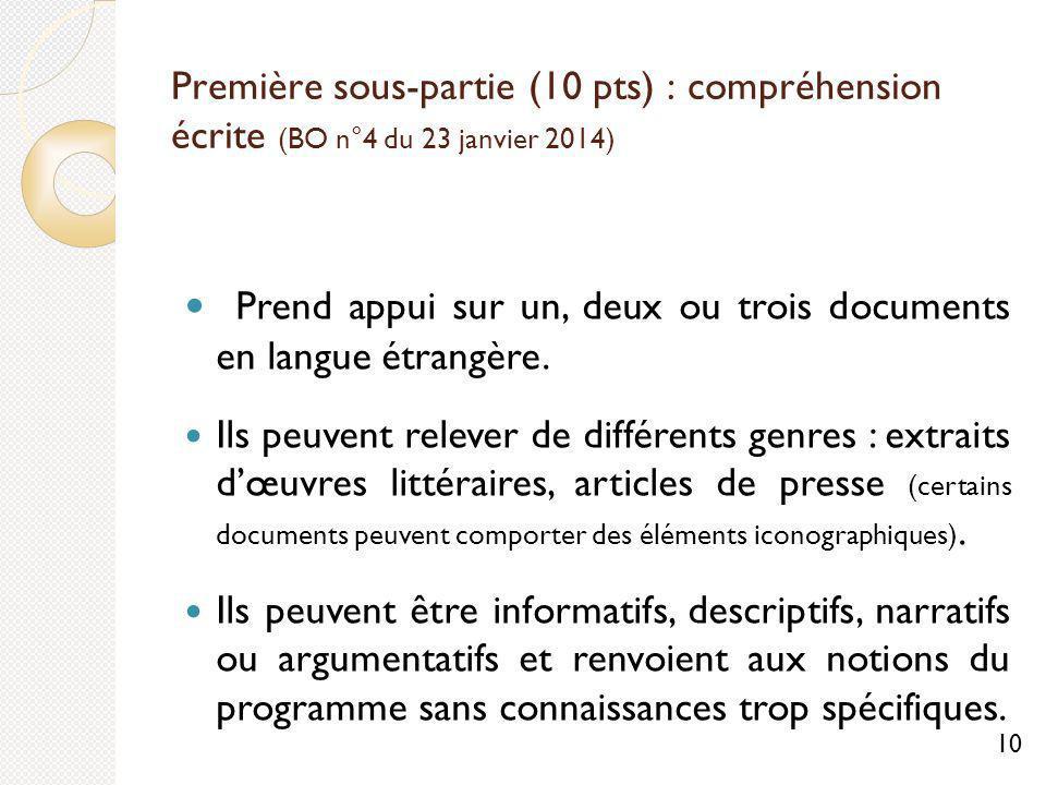 Prend appui sur un, deux ou trois documents en langue étrangère.