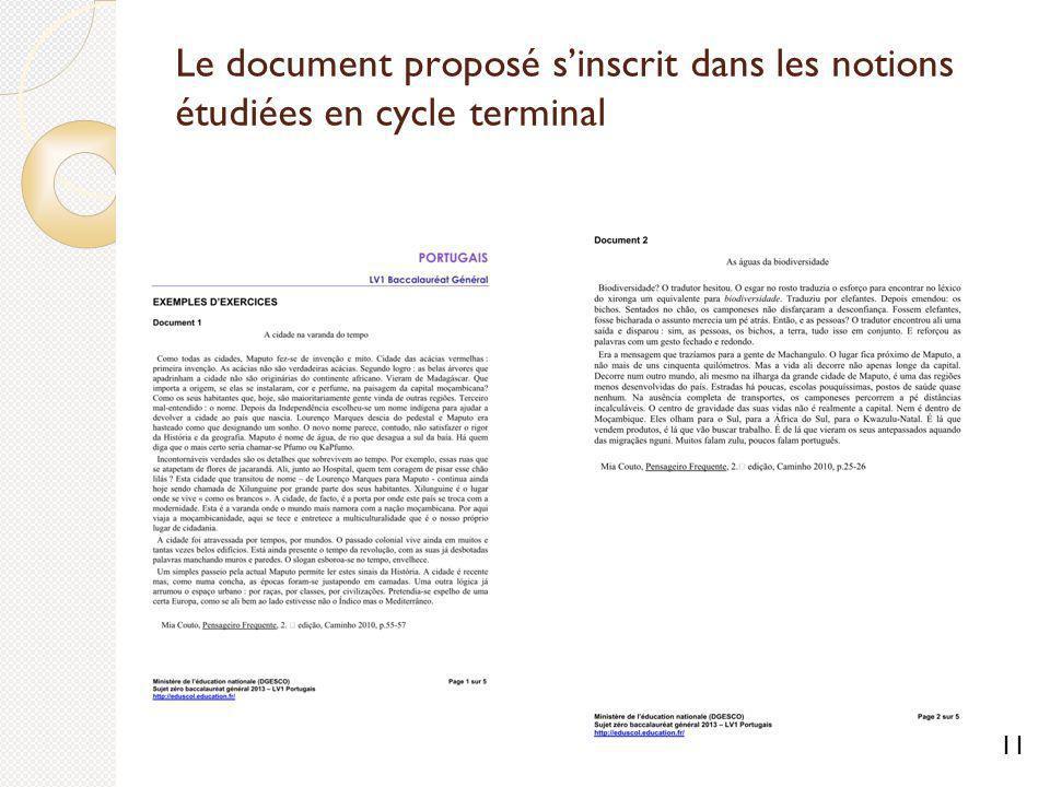 Le document proposé s'inscrit dans les notions étudiées en cycle terminal