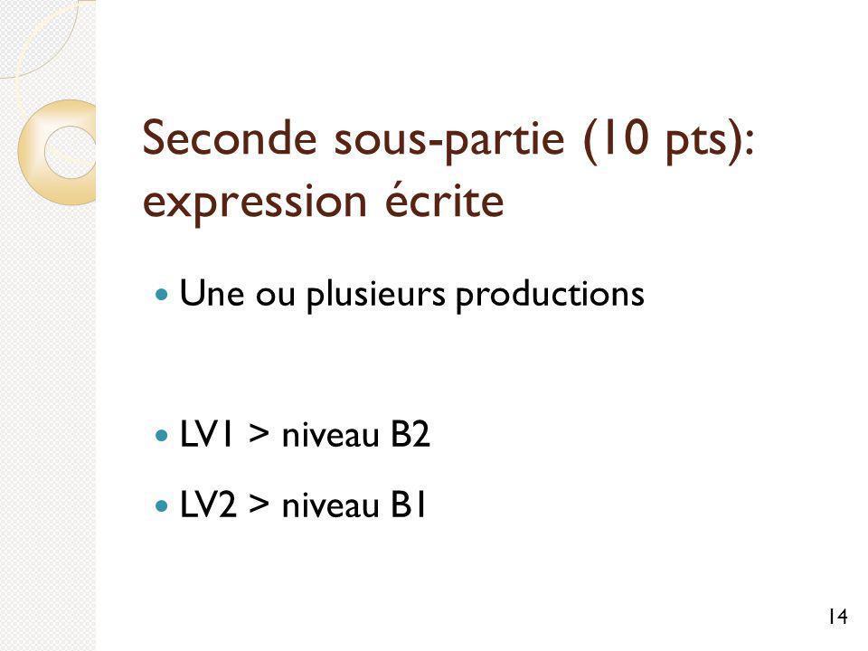Seconde sous-partie (10 pts): expression écrite