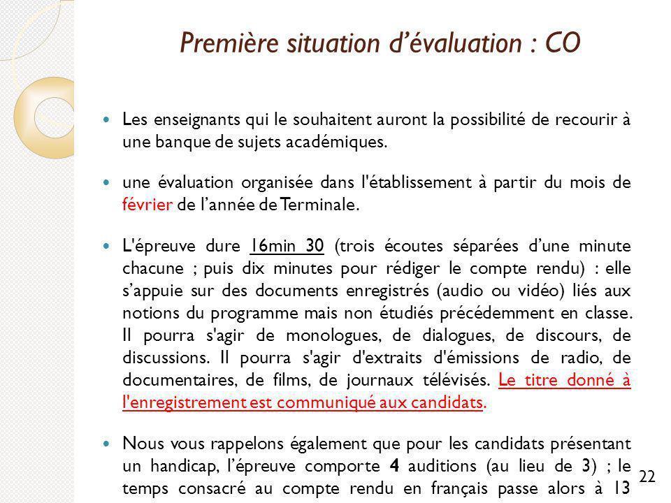 Première situation d'évaluation : CO